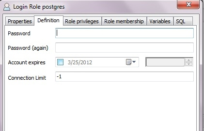 Definition tab to change password