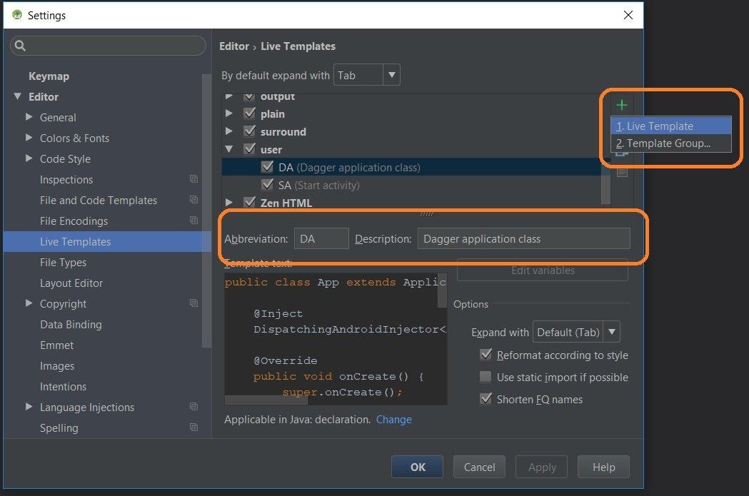 Create User Live Template